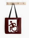 Accessible Exit Sign Project Wheelchair Wheelie Running Man Symbol Means of Egress Icon Disability Emergency Evacuation Fire Safety Tote Bag 44