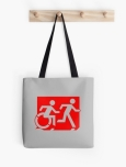 Accessible Exit Sign Project Wheelchair Wheelie Running Man Symbol Means of Egress Icon Disability Emergency Evacuation Fire Safety Tote Bag 46