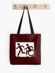 Accessible Exit Sign Project Wheelchair Wheelie Running Man Symbol Means of Egress Icon Disability Emergency Evacuation Fire Safety Tote Bag 47