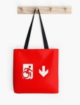 Accessible Exit Sign Project Wheelchair Wheelie Running Man Symbol Means of Egress Icon Disability Emergency Evacuation Fire Safety Tote Bag 48