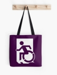 Accessible Exit Sign Project Wheelchair Wheelie Running Man Symbol Means of Egress Icon Disability Emergency Evacuation Fire Safety Tote Bag 49
