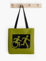 Accessible Exit Sign Project Wheelchair Wheelie Running Man Symbol Means of Egress Icon Disability Emergency Evacuation Fire Safety Tote Bag 5