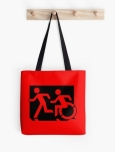 Accessible Exit Sign Project Wheelchair Wheelie Running Man Symbol Means of Egress Icon Disability Emergency Evacuation Fire Safety Tote Bag 50