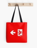 Accessible Exit Sign Project Wheelchair Wheelie Running Man Symbol Means of Egress Icon Disability Emergency Evacuation Fire Safety Tote Bag 53