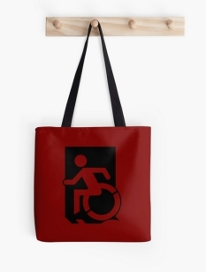 Accessible Exit Sign Project Wheelchair Wheelie Running Man Symbol Means of Egress Icon Disability Emergency Evacuation Fire Safety Tote Bag 54