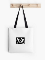 Accessible Exit Sign Project Wheelchair Wheelie Running Man Symbol Means of Egress Icon Disability Emergency Evacuation Fire Safety Tote Bag 59