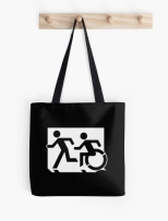 Accessible Exit Sign Project Wheelchair Wheelie Running Man Symbol Means of Egress Icon Disability Emergency Evacuation Fire Safety Tote Bag 63