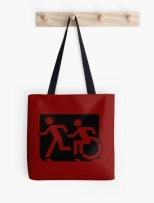 Accessible Exit Sign Project Wheelchair Wheelie Running Man Symbol Means of Egress Icon Disability Emergency Evacuation Fire Safety Tote Bag 66