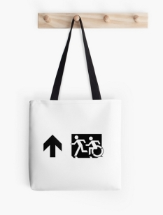 Accessible Exit Sign Project Wheelchair Wheelie Running Man Symbol Means of Egress Icon Disability Emergency Evacuation Fire Safety Tote Bag 67