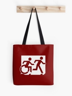 Accessible Exit Sign Project Wheelchair Wheelie Running Man Symbol Means of Egress Icon Disability Emergency Evacuation Fire Safety Tote Bag 7