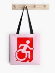 Accessible Exit Sign Project Wheelchair Wheelie Running Man Symbol Means of Egress Icon Disability Emergency Evacuation Fire Safety Tote Bag 71