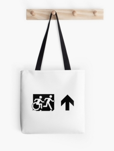 Accessible Exit Sign Project Wheelchair Wheelie Running Man Symbol Means of Egress Icon Disability Emergency Evacuation Fire Safety Tote Bag 73