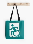 Accessible Exit Sign Project Wheelchair Wheelie Running Man Symbol Means of Egress Icon Disability Emergency Evacuation Fire Safety Tote Bag 74