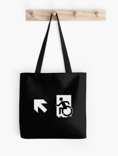 Accessible Exit Sign Project Wheelchair Wheelie Running Man Symbol Means of Egress Icon Disability Emergency Evacuation Fire Safety Tote Bag 78