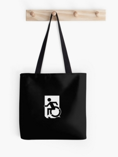 Accessible Exit Sign Project Wheelchair Wheelie Running Man Symbol Means of Egress Icon Disability Emergency Evacuation Fire Safety Tote Bag 80