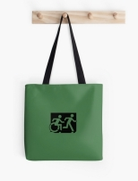 Accessible Exit Sign Project Wheelchair Wheelie Running Man Symbol Means of Egress Icon Disability Emergency Evacuation Fire Safety Tote Bag 84