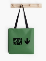Accessible Exit Sign Project Wheelchair Wheelie Running Man Symbol Means of Egress Icon Disability Emergency Evacuation Fire Safety Tote Bag 85
