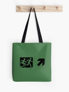Accessible Exit Sign Project Wheelchair Wheelie Running Man Symbol Means of Egress Icon Disability Emergency Evacuation Fire Safety Tote Bag 87