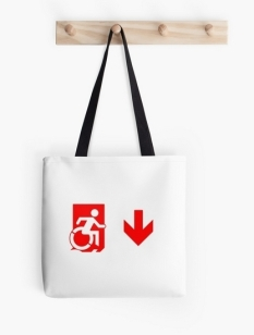 Accessible Exit Sign Project Wheelchair Wheelie Running Man Symbol Means of Egress Icon Disability Emergency Evacuation Fire Safety Tote Bag 89