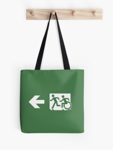 Accessible Exit Sign Project Wheelchair Wheelie Running Man Symbol Means of Egress Icon Disability Emergency Evacuation Fire Safety Tote Bag 9