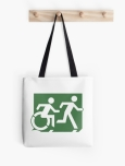 Accessible Exit Sign Project Wheelchair Wheelie Running Man Symbol Means of Egress Icon Disability Emergency Evacuation Fire Safety Tote Bag 92
