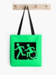 Accessible Exit Sign Project Wheelchair Wheelie Running Man Symbol Means of Egress Icon Disability Emergency Evacuation Fire Safety Tote Bag 94