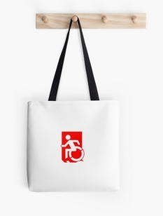 Accessible Exit Sign Project Wheelchair Wheelie Running Man Symbol Means of Egress Icon Disability Emergency Evacuation Fire Safety Tote Bag 96