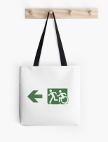 Accessible Exit Sign Project Wheelchair Wheelie Running Man Symbol Means of Egress Icon Disability Emergency Evacuation Fire Safety Tote Bag 98