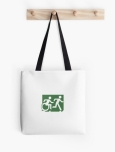 Accessible Exit Sign Project Wheelchair Wheelie Running Man Symbol Means of Egress Icon Disability Emergency Evacuation Fire Safety Tote Bag 99
