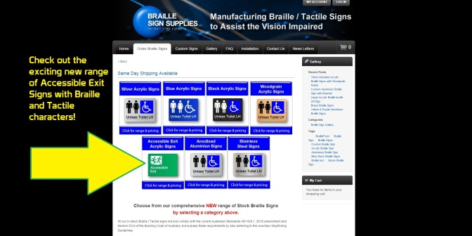 Braille Sign Supplies Webpage screen image