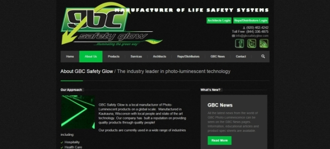 GBC Safety Glow Website Screen Image