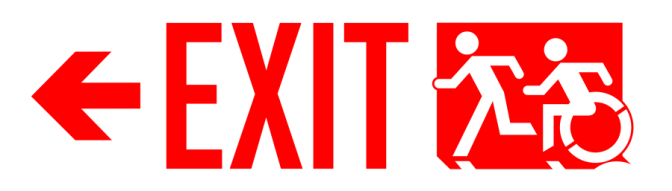 Exit Sign US Style, accessible means of egress icon, arrow left, Red on White