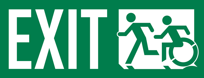 Exit Sign US Style, accessible means of egress icon, White on Green