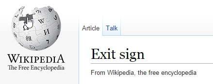 Exit Signs on Wikipedia screen image