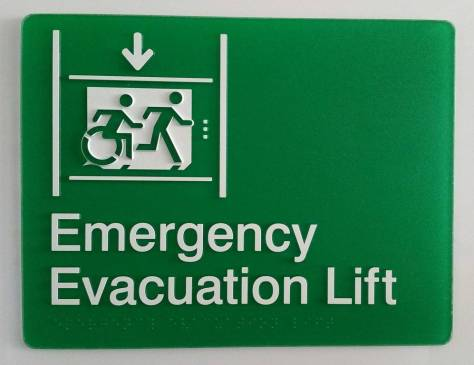 Braille Sign Supplies Emergency Evacuation Lift Sign with Braille and Tactile Text