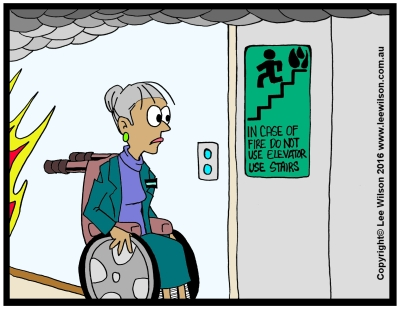 Cartoon of a lady using a wheelchair looking at Non Emergency Elevator