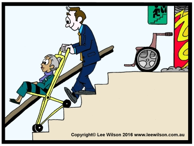 Cartoon of a man using an Evacuation Chair in Fire Stairs to help a lady down the stairs