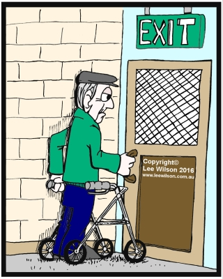 Cartoon of an elederly man using a walking frame trying to open an exit door