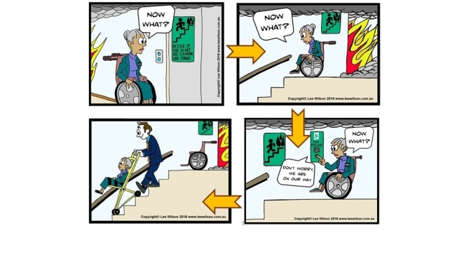 Now what cartoons showing wheelchair evacuation difficulties